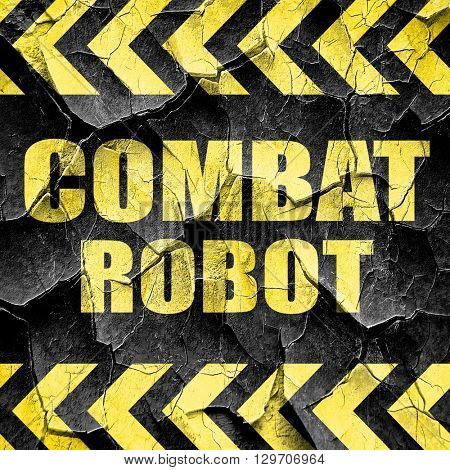 combat robot sign background, black and yellow rough hazard stri