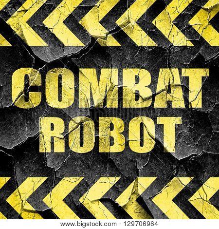 combat robot sign background, black and yellow rough hazard stri