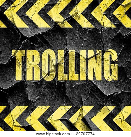 Trolling internet background, black and yellow rough hazard stri