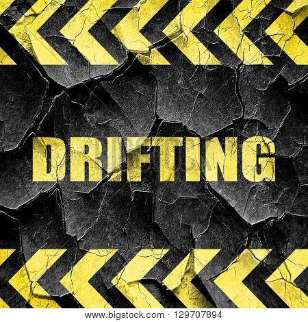 drifting sign background, black and yellow rough hazard stripes