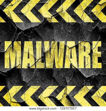 Malware computer background, black and yellow rough hazard strip