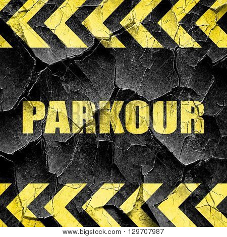 parkour sign background, black and yellow rough hazard stripes