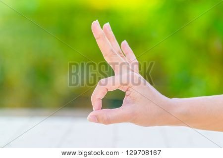 Hand Of Woman Making Gesture Ok Sign