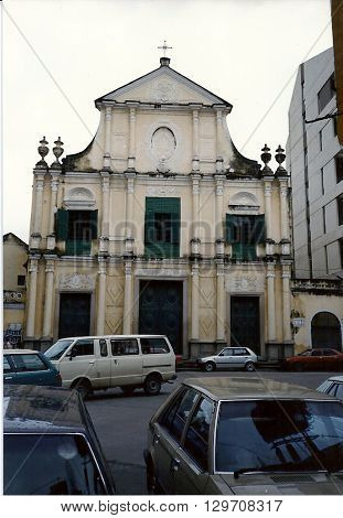 MACAU - CIRCA 1987: Catholics gather to worship at Saint Dominic's Church (Igreja de São Domingos), which is an historic baroque church, built during the sixteenth century.