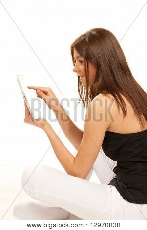 Brunette With Tablet Touch Pad In Hands