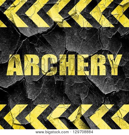 archery sign background, black and yellow rough hazard stripes