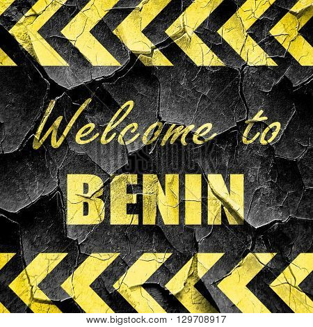 Welcome to benin, black and yellow rough hazard stripes