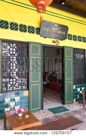 Phuket Town Thailand-May 12th 2016: Entrance to Old Town Hostel. Many hstels and hotels have sprung up in the town to accomodate the increase in tourists.