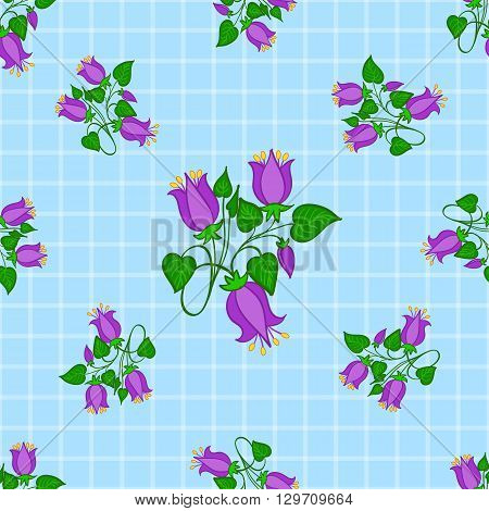 Seamless bluebell floral pattern on light blue squared background. Vector illustration. Can be used for fabrics, wallpapers, wrapping design, scrap-booking, web sites, flyers, invitation, etc