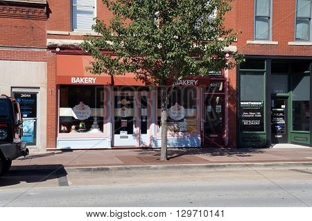 PLAINFIELD, ILLINOIS / UNITED STATES - SEPTEMBER 20, 2015: One may purchase cakes at Milettes Cakes Bakery in downtown Plainfield.