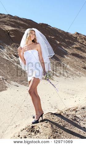 Beautiful Bride In Her White Dress