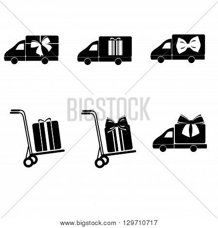 Delivery gift vector set. Delivery car vector set. Shipping vector icons. Gift box in delivery car isolated. Delivery service icons set. Shipping box vector set.