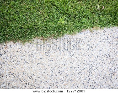Close up half of stone walkway and grass - small gravel floor and grass for background and texture