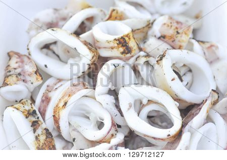 fresh grilled squid dish on the table