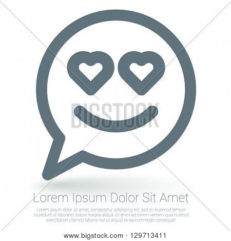 In love emoticon vector mock up.
