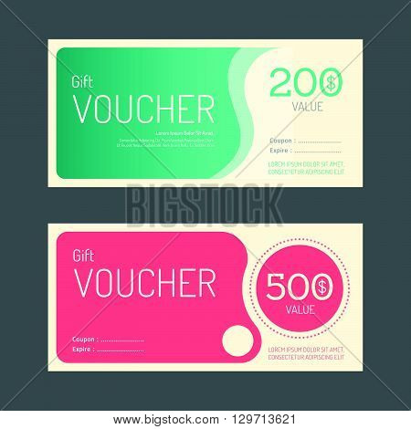 Vector gift voucher coupon template design. paper label frame modern pattern style.
