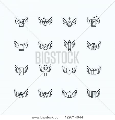 vector linear web icons set - wing concept collection of flat line design elements.