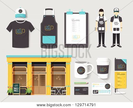 Vector restaurant cafe set shop front design flyer menu package t-shirt cap uniform and display design/ layout set of corporate identity mock up template.