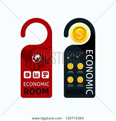 Paper door handle lock hangers concept economic room banner vector set.