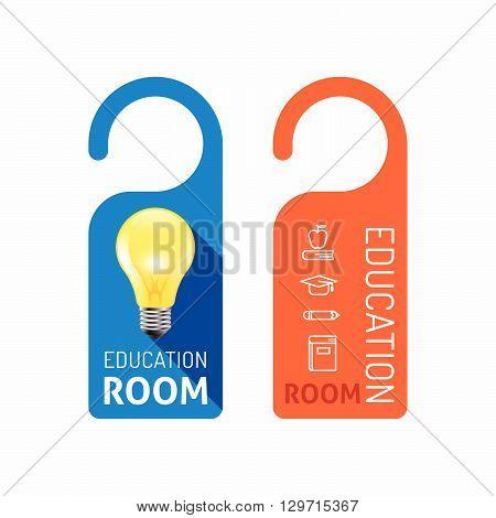 Paper door handle lock hangers concept education room banner vector set.