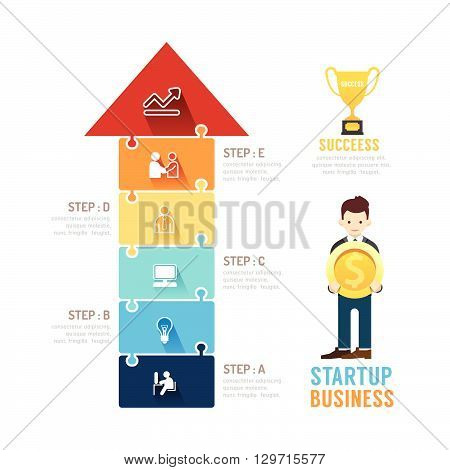 Startup Business design arrow jigzaw concept presentation with flat icons. vector illustration