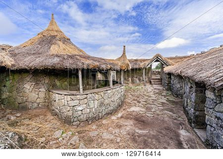Interior of the reconstructed family nucleus building in Citania de Sanfins. A Castro Village (fortified Celtic-Iberian pre-historic settlement) in Pacos de Ferreira, Portugal.