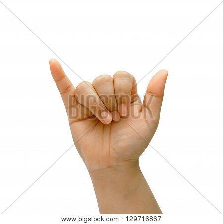 Asian woman hand on isolated. Shaka sign.