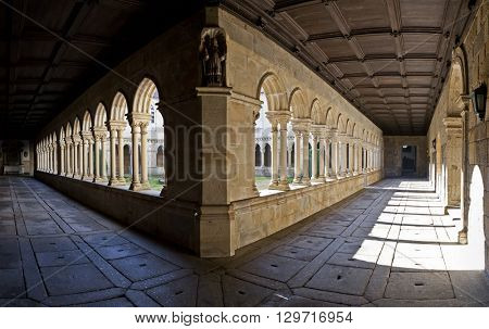 Cloister panorama of the S. Bento monastery in Santo Tirso, Portugal. Benedictine order. Built in the Gothic (cloister) and Baroque (church) style.