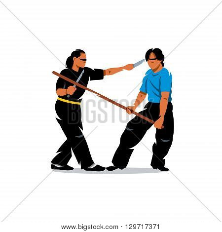 Two people work out fighting skills in tandem with each other. Butterfly swords against wooden sticks. Isolated on a white background