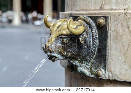 Aragon Teruel El Torico fountain in Plaza Carlos Castel square at Spain