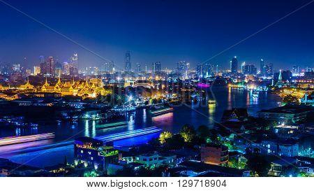 Night scene of Chao Phraya river shot with long exposure
