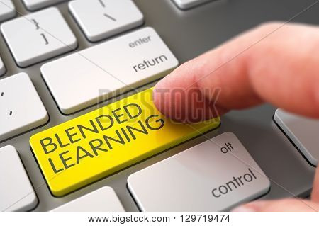 Blended Learning - Modern Laptop Keyboard Concept. Hand Touching Blended Learning Keypad. Computer User Presses Blended Learning Yellow Key. 3D Render.