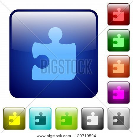 Set of color puzzle glass web buttons.
