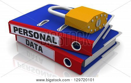Personal data is protected. Office folder with inscription