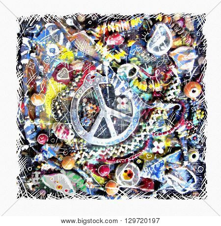 Pacific card. Illustration of ornamental peace sign on grunge multicolor background. Art design. Flower power. Design for the international day of peace. Colorful pacifism and peace concept.