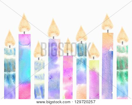 Colorful birthday burning candles. Hanukkah greeting card with candles isolated on white background.