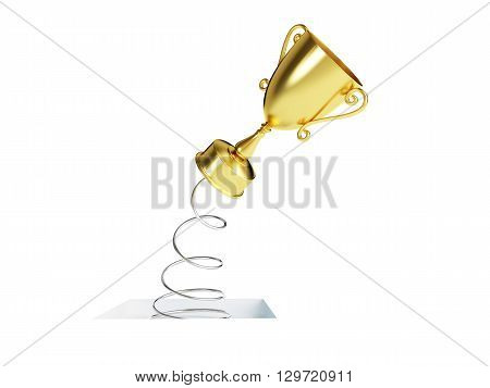 spring gold trophy cup. 3d Illustrations on a white background