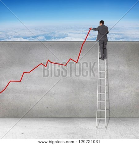 Businessman looking on a ladder against blue sky over clouds at high altitude