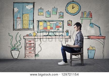 Young student in his room