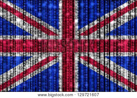British flag texture with digital zeros and ones strains glowing in the national colors