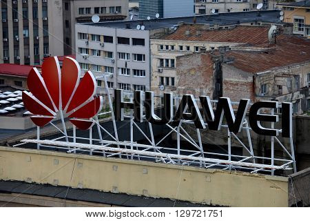 Bucharest, Romania, May 3, 2016: Huawei sign on a building, Huawei Technologies Co. is a Chinese multinational networking and telecommunications equipment and services .