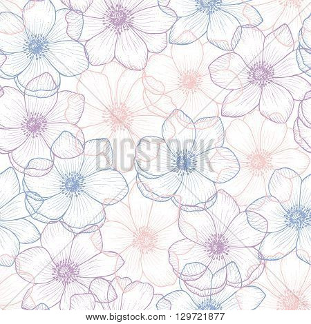 Floral seamless pattern flower anemone in color pantone 2016, anemone background, flower seamless pattern for greeting card, holiday, wedding, birthday, textile, wallpaper, wrapping, vector flower