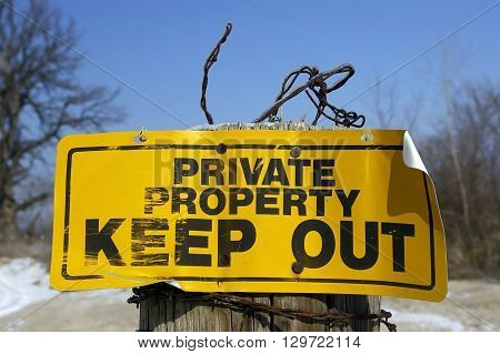 Private Property Sign Posted in a Rural Area