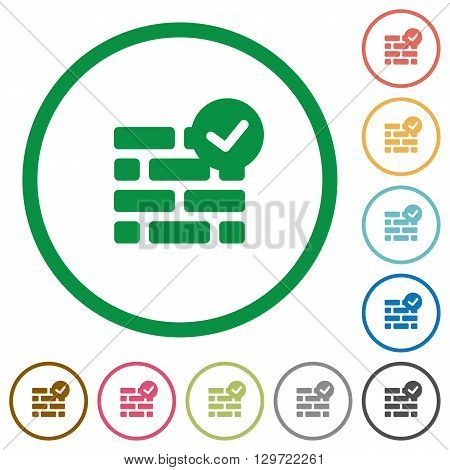 Set of active firewall color round outlined flat icons on white background