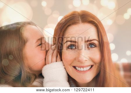 Mother and daughter telling secrets against white glowing dots on grey