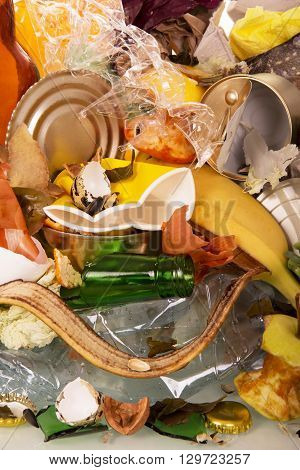 Close-up of household waste and cleaning of bananas, potatoes