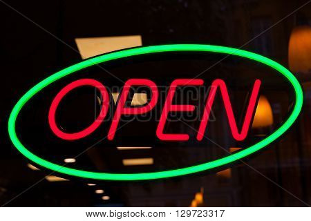 Red and green neon Open sign image