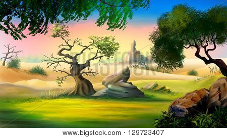 African Savanna in a summer day with small tree and big rock.