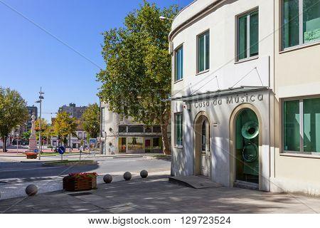 Vila Nova de Famalicao, Portugal. September 06, 2015: Casa da Musica (Music House) of Vila Nova de Famalicao. Braga, Portugal.