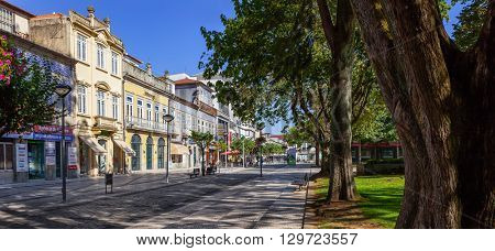 Vila Nova de Famalicao, Portugal. September 06, 2015: Old buildings of Vila Nova de Famalicao (Luis Barroso street/Dona Maria II Square). Braga, Portugal